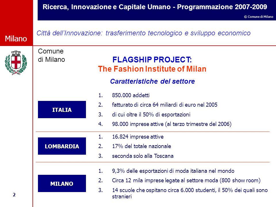 Ricerca, Innovazione e Capitale Umano - Programmazione 2007-2009 2 © Comune di Milano Milano Comune di Milano Città dell'Innovazione: trasferimento tecnologico e sviluppo economico FLAGSHIP PROJECT: The Fashion Institute of Milan Caratteristiche del settore ITALIA LOMBARDIA MILANO 1.850.000 addetti 2.fatturato di circa 64 miliardi di euro nel 2005 3.di cui oltre il 50% di esportazioni 4.98.000 imprese attive (al terzo trimestre del 2006) 1.16.824 imprese attive 2.17% del totale nazionale 3.seconda solo alla Toscana 1.9,3% delle esportazioni di moda italiana nel mondo 2.Circa 12 mila imprese legate al settore moda (800 show room) 3.14 scuole che ospitano circa 6.000 studenti, il 50% dei quali sono stranieri