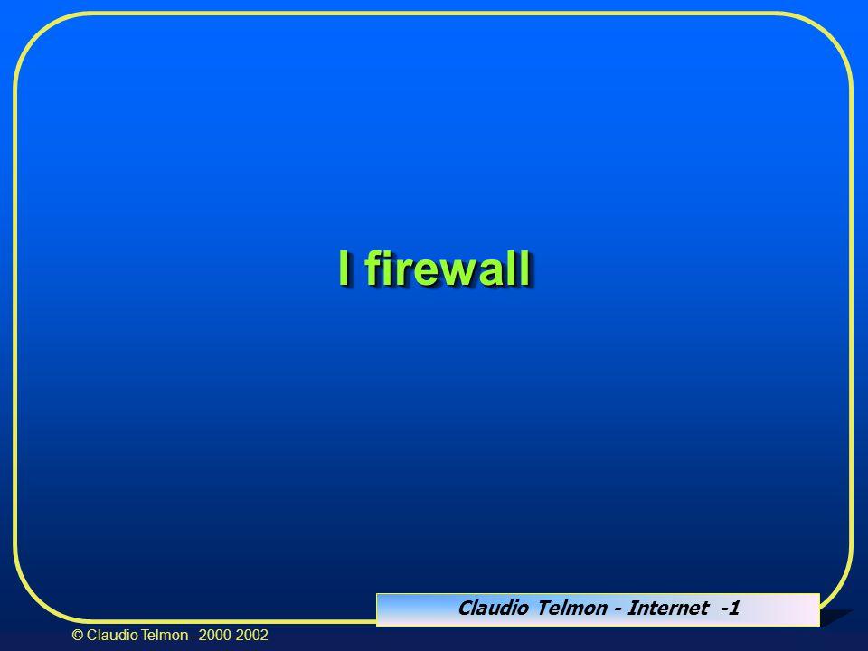 Claudio Telmon - Internet -72 © Claudio Telmon - 2000-2002 IDS: Intrusion detection systems  Tentano di rilevare:  attività di analisi della rete  tentativi di intrusione  intrusioni avvenute  comportamenti pericolosi degli utenti  traffico anomalo