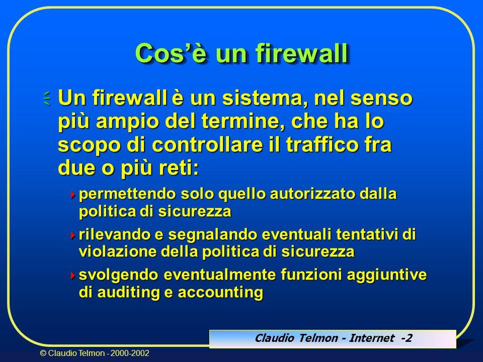 Claudio Telmon - Internet -13 © Claudio Telmon - 2000-2002 Router: vantaggi  Buone prestazioni  Trasparenza  Basso costo (ev.