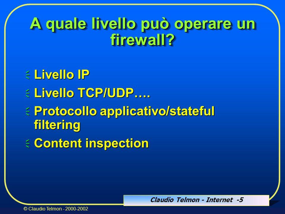 Claudio Telmon - Internet -26 © Claudio Telmon - 2000-2002 Regole di filtraggio (ipchains) pkts bytes target prot ifname source destination ports 271 56476 ACCEPT all lo 127.0.0.1 127.0.0.1 n/a 0 0 DENY all * 127.0.0.0/8 0.0.0.0/0 n/a 0 0 DENY all * 0.0.0.0/0 127.0.0.0/8 n/a 0 0 ACCEPT tcp eth0 0.0.0.0/0 192.168.1.2 * -> 21 0 0 ACCEPT tcp eth0 0.0.0.0/0 192.168.1.2 * -> 1024:65535 0 0 ACCEPT udp eth1 192.168.2.10 192.168.1.2 53 -> * 0 0 DENY tcp * 0.0.0.0/0 0.0.0.0/0 * -> 137:139 0 0 DENY udp * 0.0.0.0/0 0.0.0.0/0 * -> 137:139 0 0 REJECT tcp * 0.0.0.0/0 192.168.1.2 * -> 113