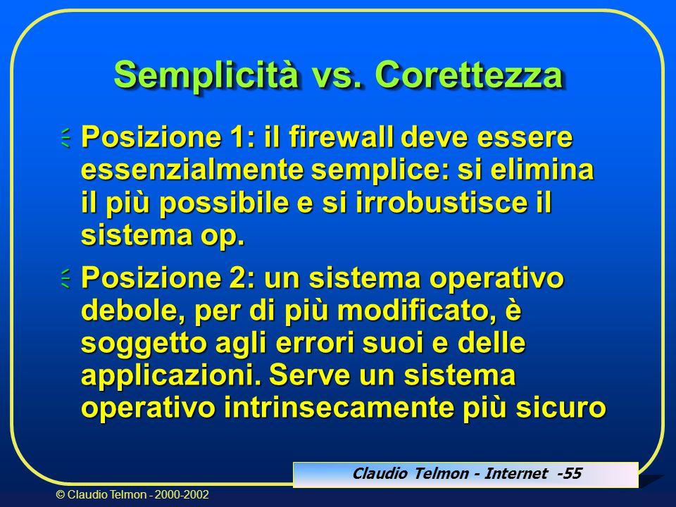 Claudio Telmon - Internet -55 © Claudio Telmon - 2000-2002 Semplicità vs.