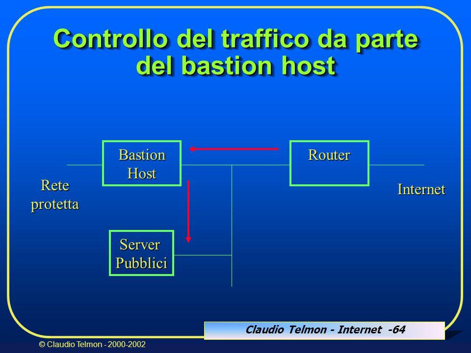 Claudio Telmon - Internet -64 © Claudio Telmon - 2000-2002 Controllo del traffico da parte del bastion host BastionHost Router Internet ServerPubblici Reteprotetta