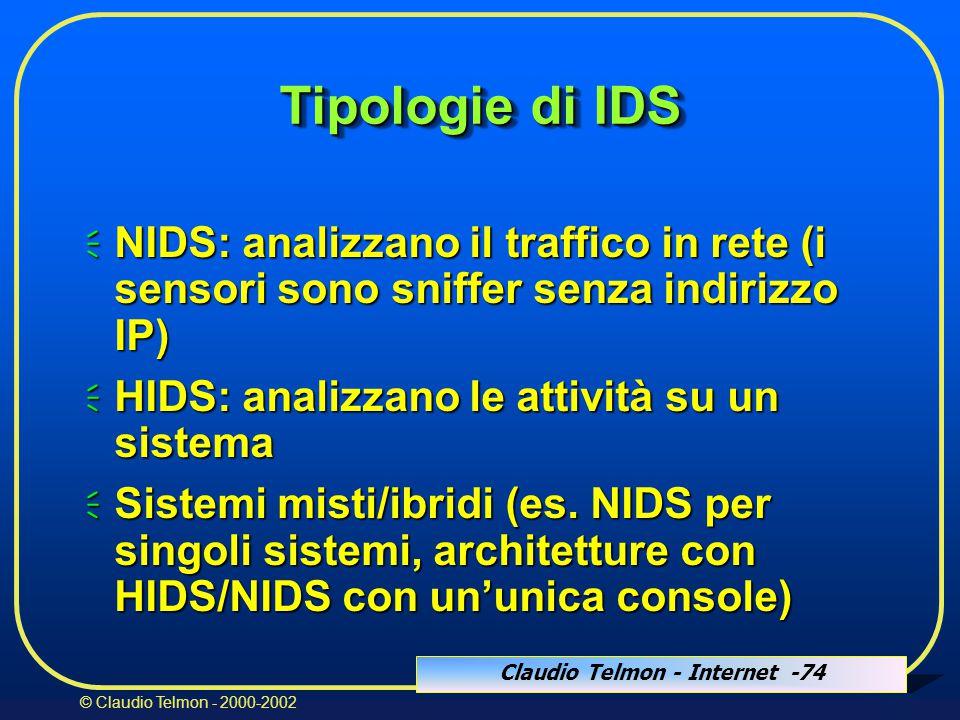 Claudio Telmon - Internet -74 © Claudio Telmon - 2000-2002 Tipologie di IDS  NIDS: analizzano il traffico in rete (i sensori sono sniffer senza indirizzo IP)  HIDS: analizzano le attività su un sistema  Sistemi misti/ibridi (es.