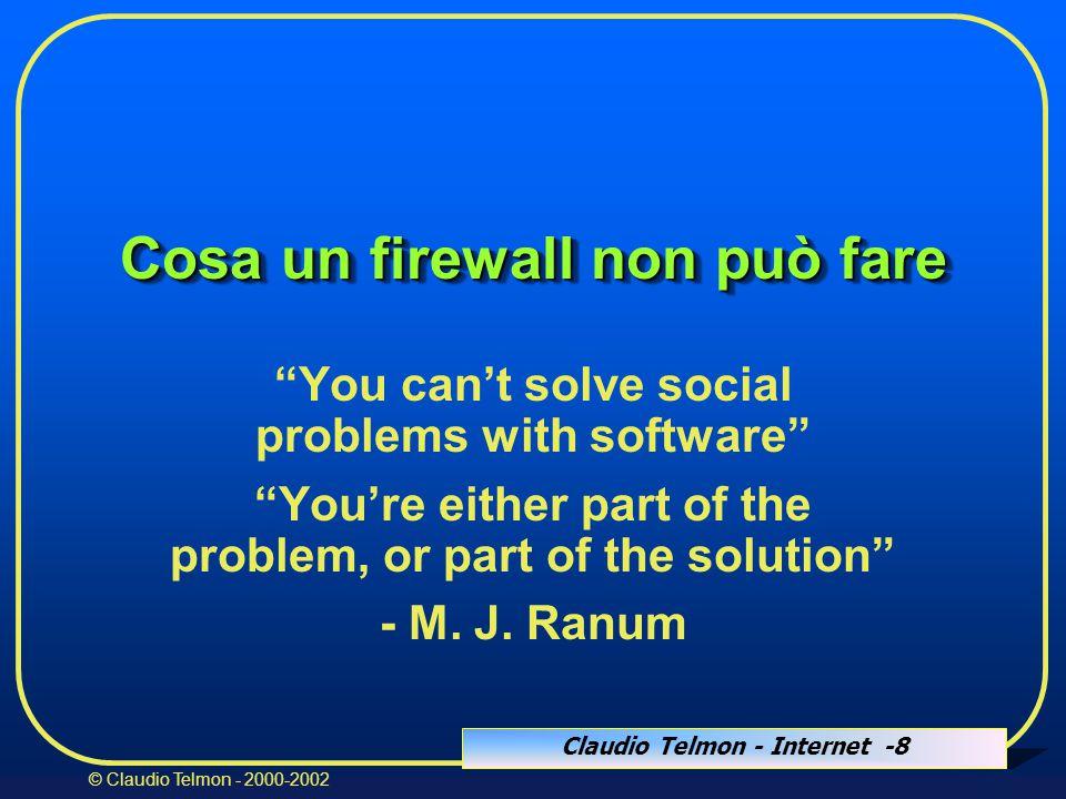 Claudio Telmon - Internet -29 © Claudio Telmon - 2000-2002 I proxy ClientProxyServer Connesioneclient/proxyConnesioneproxy/server