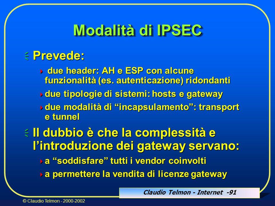 Claudio Telmon - Internet -91 © Claudio Telmon - 2000-2002 Modalità di IPSEC  Prevede:  due header: AH e ESP con alcune funzionalità (es.
