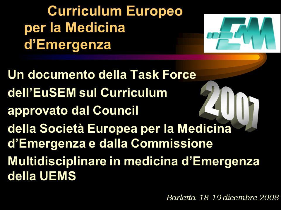 Un documento della Task Force dell'EuSEM sul Curriculum approvato dal Council della Società Europea per la Medicina d'Emergenza e dalla Commissione Multidisciplinare in medicina d'Emergenza della UEMS Curriculum Europeo per la Medicina d'Emergenza Barletta 18-19 dicembre 2008