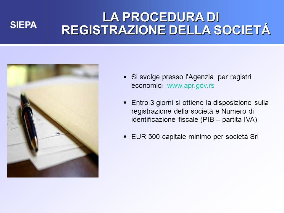 SIEPA LA PROCEDURA DI REGISTRAZIONE DELLA SOCIETÁ  Si svolge presso l Agenzia per registri economici www.apr.gov.rs  Entro 3 giorni si ottiene la disposizione sulla registrazione della società e Numero di identificazione fiscale (PIB – partita IVA)  EUR 500 capitale minimo per societá Srl