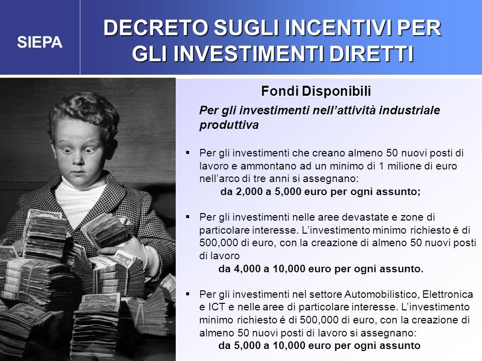 SIEPA Agenzia Governativa per gli Investimenti esteri e la Promozione delle Esportazioni Per gli investimenti nell'attività industriale produttiva  P