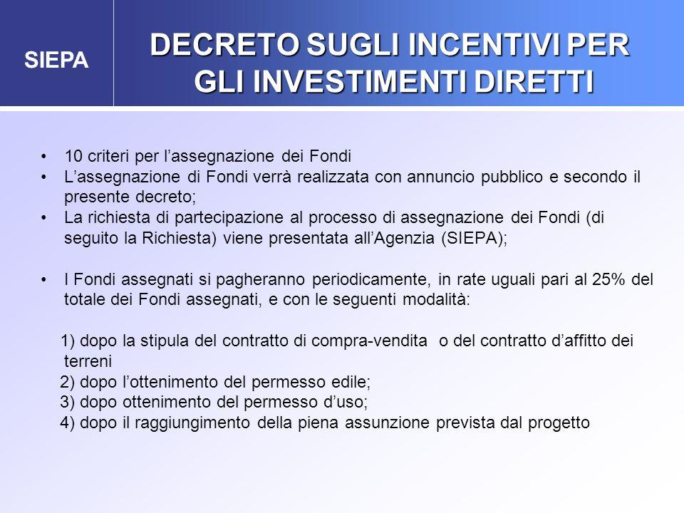 SIEPA 10 criteri per l'assegnazione dei Fondi L'assegnazione di Fondi verrà realizzata con annuncio pubblico e secondo il presente decreto; La richies