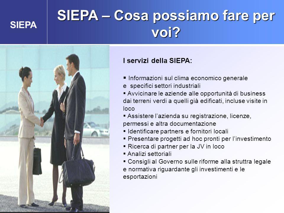 SIEPA SIEPA – Cosa possiamo fare per voi? Agenzia Governativa per gli Investimenti Esteri e la promozione delle Esportazioni I servizi della SIEPA: 