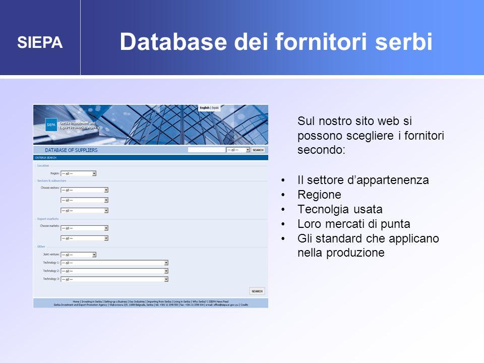 SIEPA Database dei fornitori serbi Sul nostro sito web si possono scegliere i fornitori secondo: Il settore d'appartenenza Regione Tecnolgia usata Loro mercati di punta Gli standard che applicano nella produzione