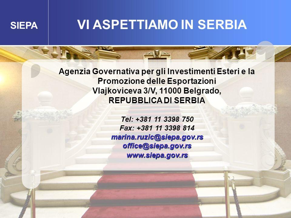 SIEPA VI ASPETTIAMO IN SERBIA Agenzia Governativa per gli Investimenti Esteri e la Promozione delle Esportazioni Vlajkoviceva 3/V, 11000 Belgrado, REPUBBLICA DI SERBIA Tel: +381 11 3398 750 Fax: +381 11 3398 814marina.ruzic@siepa.gov.rsoffice@siepa.gov.rswww.siepa.gov.rs