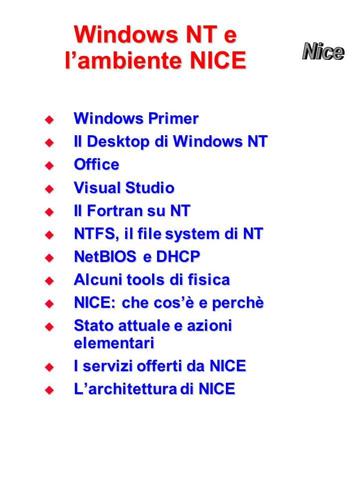 Windows NT e l'ambiente NICE  Windows Primer  Il Desktop di Windows NT  Office  Visual Studio  Il Fortran su NT  NTFS, il file system di NT  NetBIOS e DHCP  Alcuni tools di fisica  NICE: che cos'è e perchè  Stato attuale e azioni elementari  I servizi offerti da NICE  L'architettura di NICE