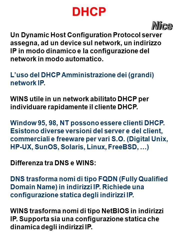 DHCP Un Dynamic Host Configuration Protocol server assegna, ad un device sul network, un indirizzo IP in modo dinamico e la configurazione del network in modo automatico.