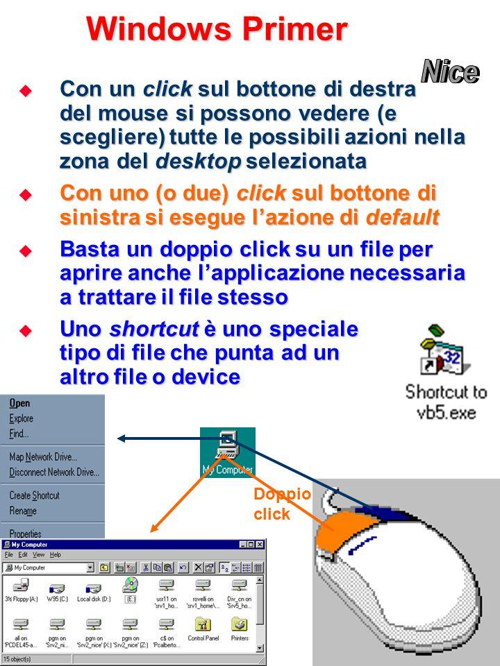 Windows Primer  Con un click sul bottone di destra del mouse si possono vedere (e scegliere) tutte le possibili azioni nella zona del desktop selezionata  Con uno (o due) click sul bottone di sinistra si esegue l'azione di default  Basta un doppio click su un file per aprire anche l'applicazione necessaria a trattare il file stesso  Uno shortcut è uno speciale tipo di file che punta ad un altro file o device Doppio click