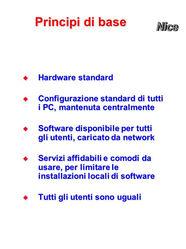 Principi di base  Hardware standard  Configurazione standard di tutti i PC, mantenuta centralmente  Software disponibile per tutti gli utenti, caricato da network  Servizi affidabili e comodi da usare, per limitare le installazioni locali di software  Tutti gli utenti sono uguali