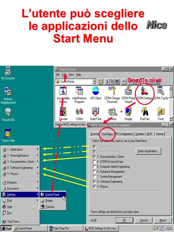L'utente può scegliere le applicazioni dello Start Menu Doppio click