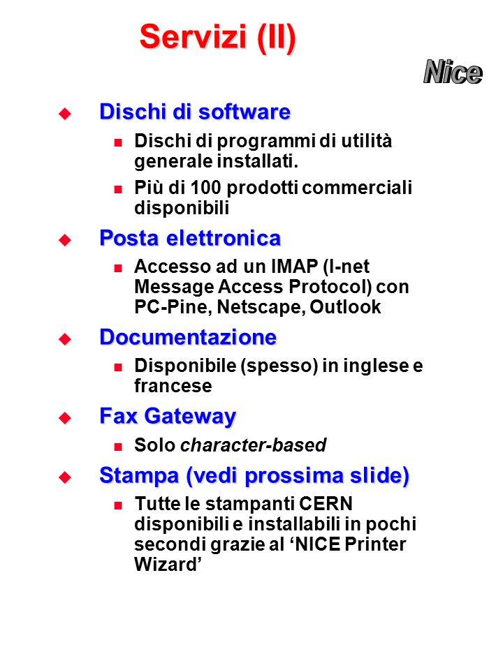 Servizi (II)  Dischi di software Dischi di programmi di utilità generale installati.
