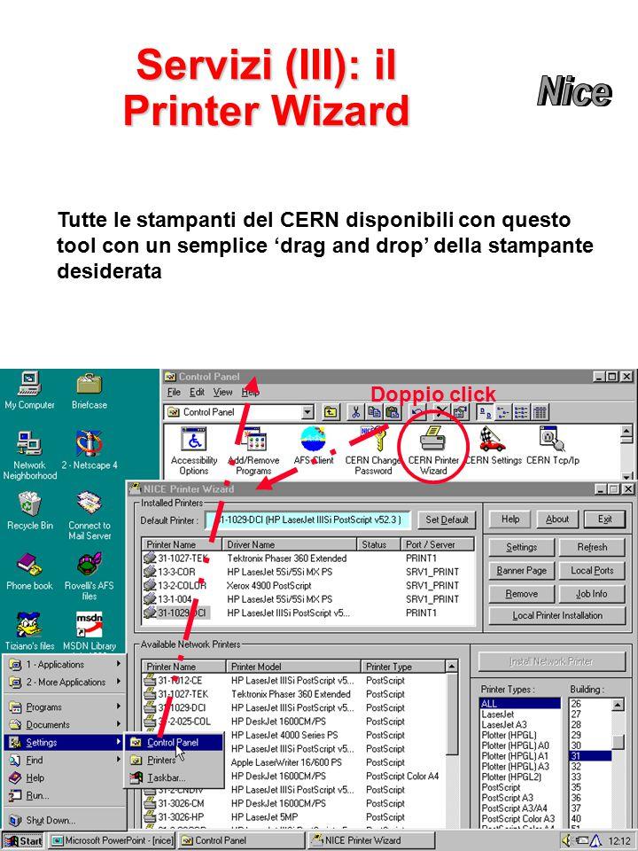 Servizi (III): il Printer Wizard Doppio click Tutte le stampanti del CERN disponibili con questo tool con un semplice 'drag and drop' della stampante desiderata