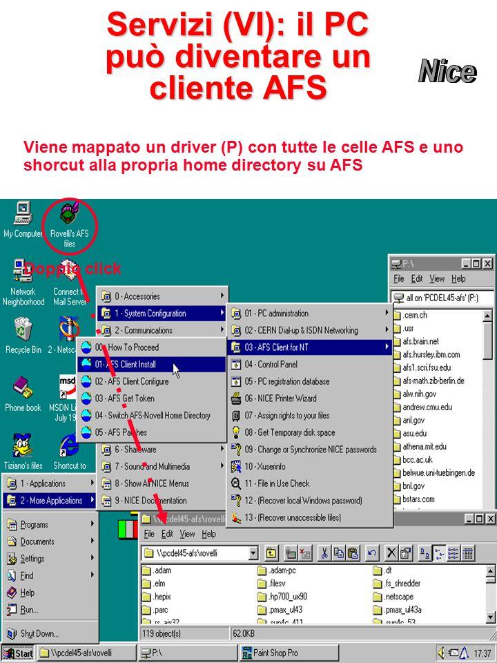 Servizi (VI): il PC può diventare un cliente AFS Doppio click Viene mappato un driver (P) con tutte le celle AFS e uno shorcut alla propria home directory su AFS