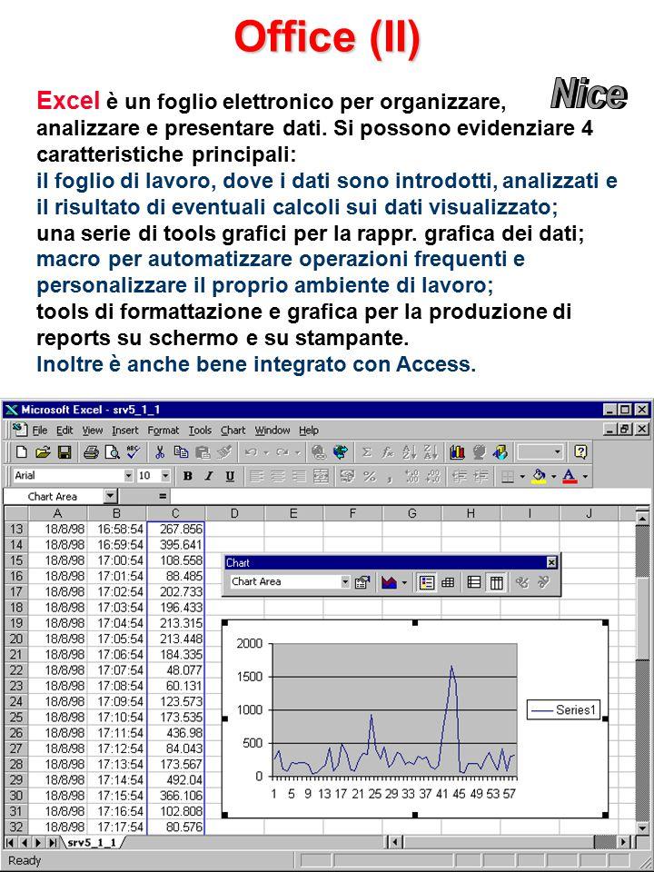 Office (II) Excel è un foglio elettronico per organizzare, analizzare e presentare dati.