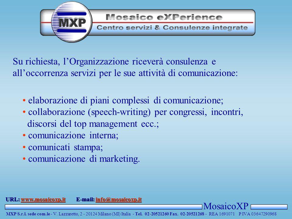 MosaicoXP MXP S.r.l. sede com.le - V. Lazzaretto, 2 - 20124 Milano (MI) Italia - Tel. 02-20521260 Fax. 02-20521268 - REA 1691071 P IVA 03647290968 URL