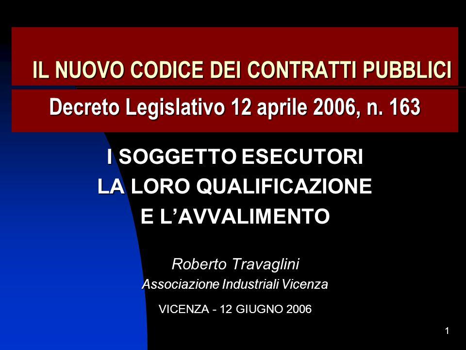 62 I REQUISITI DI IDONEITA' NEL CODICE DEI CONTRATTI Art.