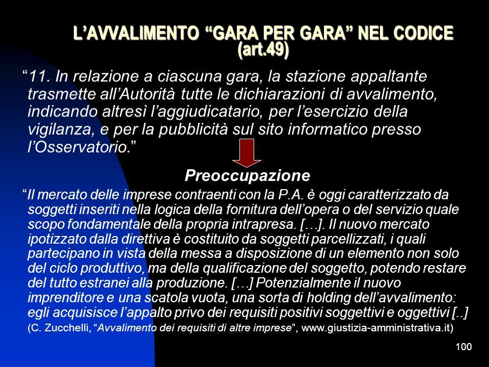 100 L'AVVALIMENTO GARA PER GARA NEL CODICE (art.49) 11.
