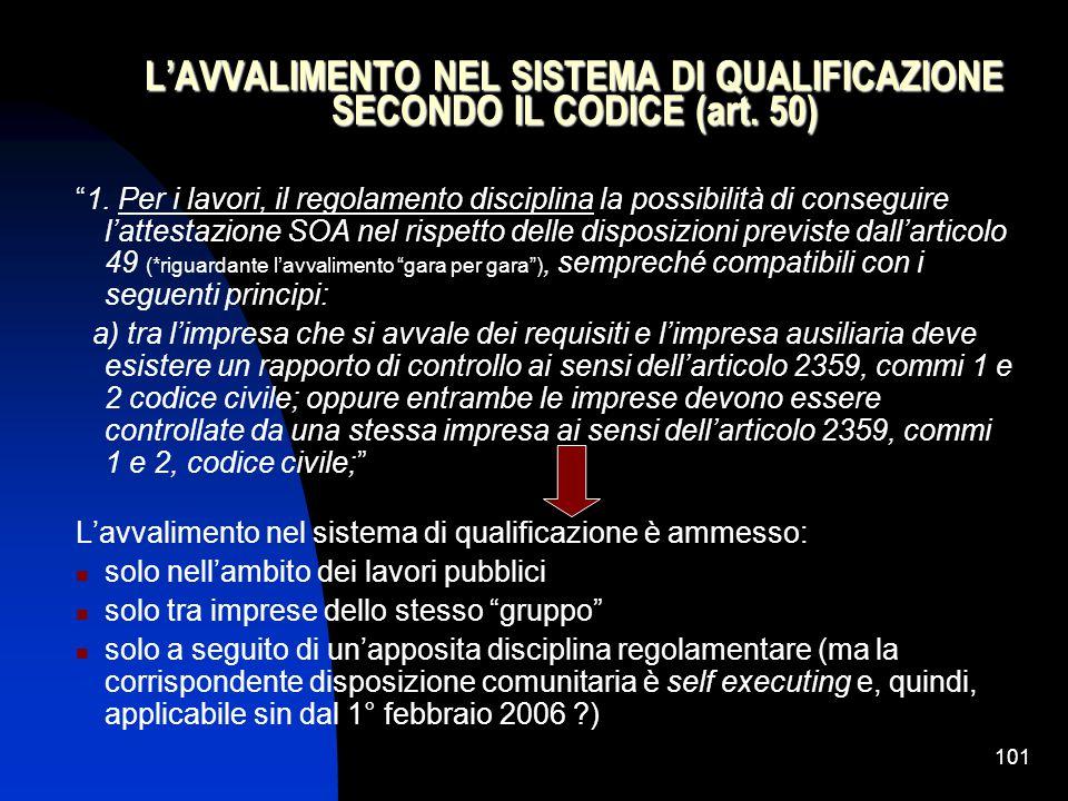 101 L'AVVALIMENTO NEL SISTEMA DI QUALIFICAZIONE SECONDO IL CODICE (art.