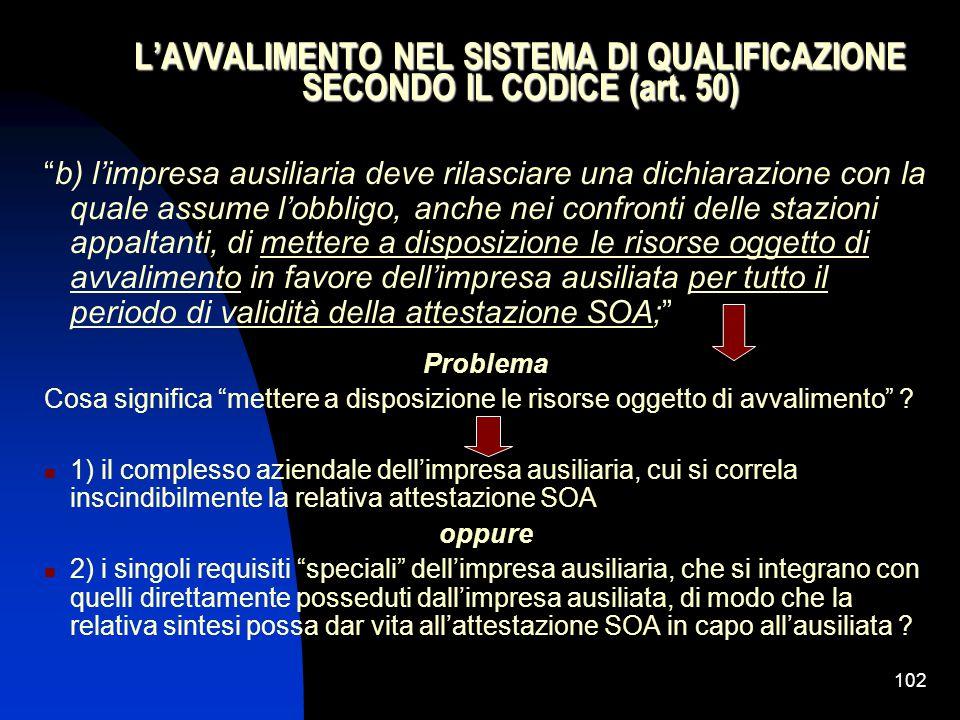 102 L'AVVALIMENTO NEL SISTEMA DI QUALIFICAZIONE SECONDO IL CODICE (art.
