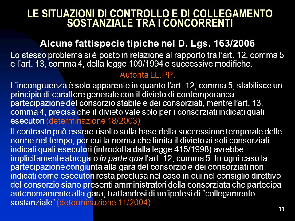11 LE SITUAZIONI DI CONTROLLO E DI COLLEGAMENTO SOSTANZIALE TRA I CONCORRENTI Alcune fattispecie tipiche nel D.