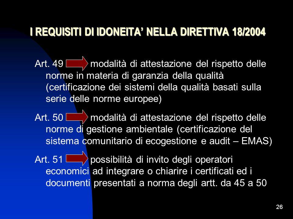 26 I REQUISITI DI IDONEITA' NELLA DIRETTIVA 18/2004 Art.