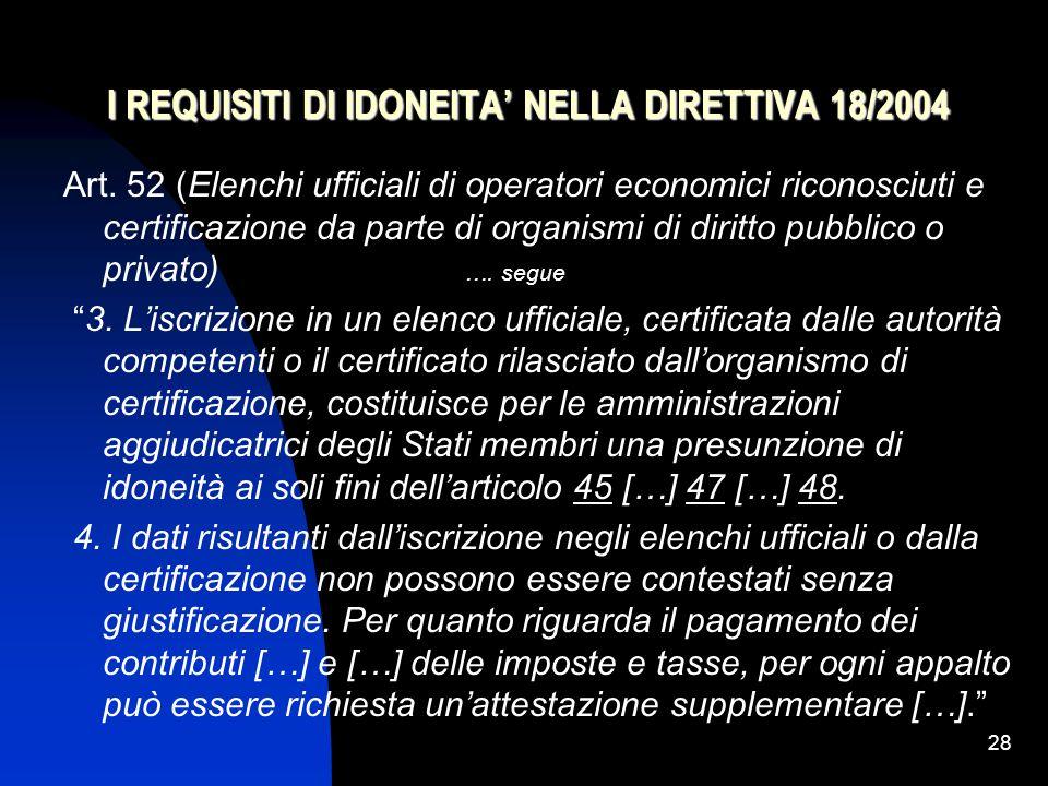 28 I REQUISITI DI IDONEITA' NELLA DIRETTIVA 18/2004 Art.