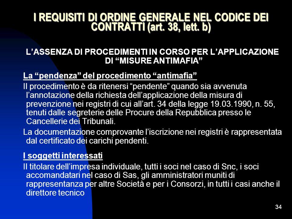 34 I REQUISITI DI ORDINE GENERALE NEL CODICE DEI CONTRATTI (art.