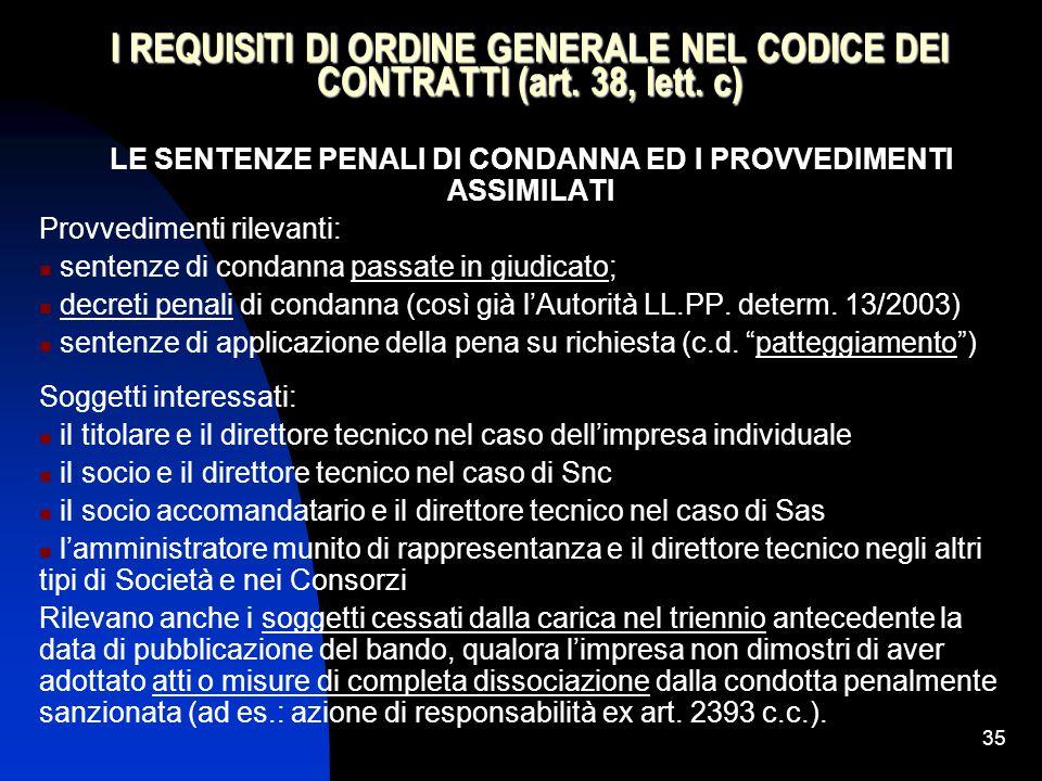 35 I REQUISITI DI ORDINE GENERALE NEL CODICE DEI CONTRATTI (art.