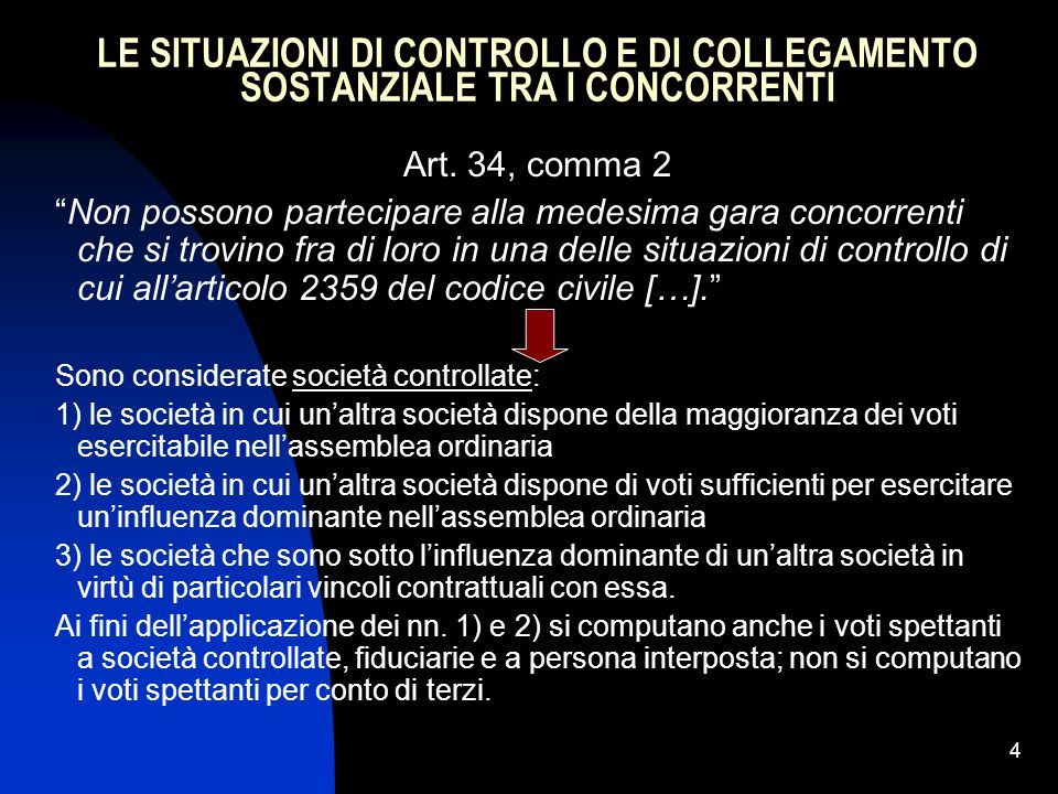 4 LE SITUAZIONI DI CONTROLLO E DI COLLEGAMENTO SOSTANZIALE TRA I CONCORRENTI Art.
