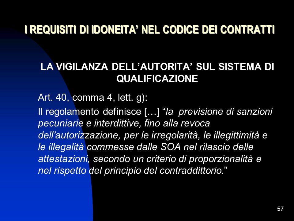 57 I REQUISITI DI IDONEITA' NEL CODICE DEI CONTRATTI LA VIGILANZA DELL'AUTORITA' SUL SISTEMA DI QUALIFICAZIONE Art.