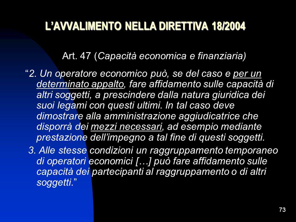 73 L'AVVALIMENTO NELLA DIRETTIVA 18/2004 Art.47 (Capacità economica e finanziaria) 2.