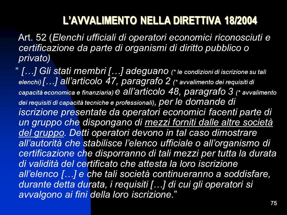 75 L'AVVALIMENTO NELLA DIRETTIVA 18/2004 Art.