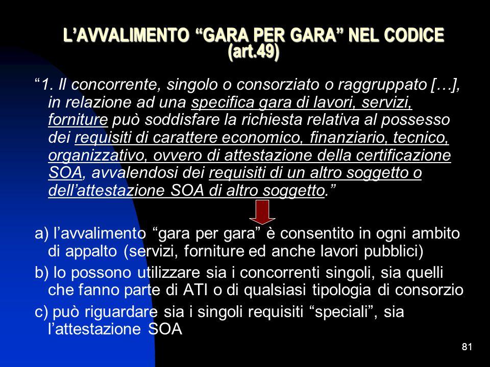 81 L'AVVALIMENTO GARA PER GARA NEL CODICE (art.49) 1.