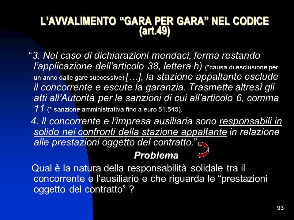 93 L'AVVALIMENTO GARA PER GARA NEL CODICE (art.49) 3.