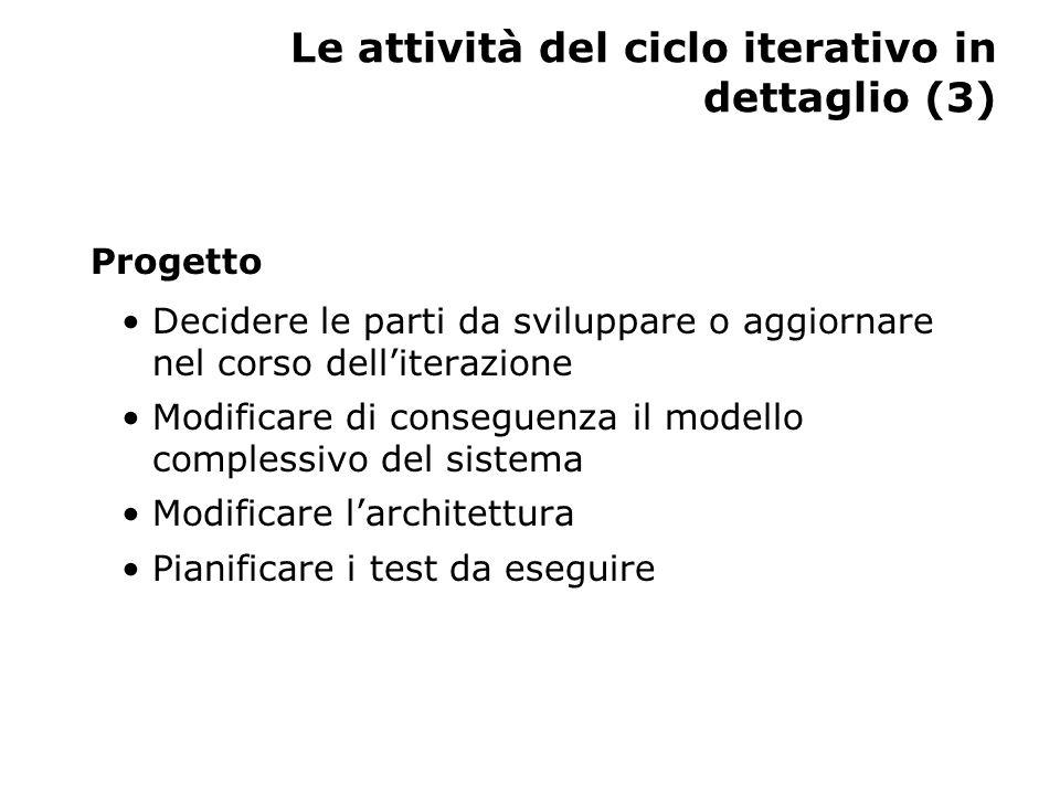 Le attività del ciclo iterativo in dettaglio (3) Progetto Decidere le parti da sviluppare o aggiornare nel corso dell'iterazione Modificare di conseguenza il modello complessivo del sistema Modificare l'architettura Pianificare i test da eseguire
