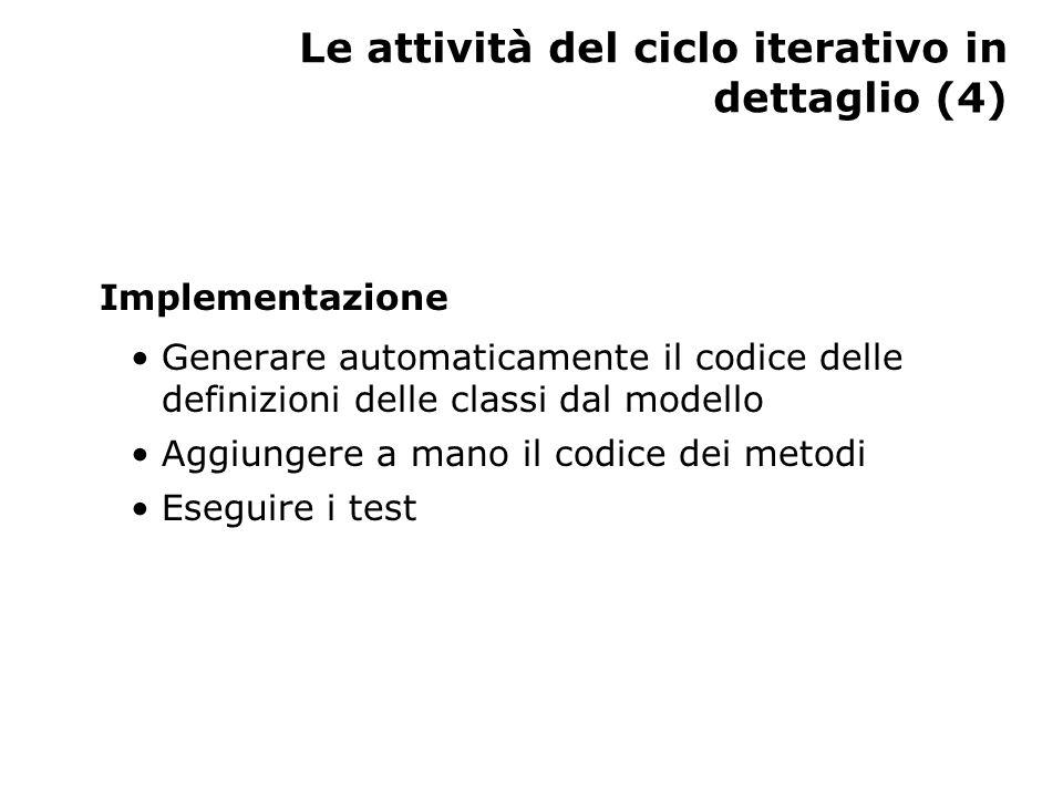 Le attività del ciclo iterativo in dettaglio (5) Test Verificare l'integrazione del nuovo codice con quello sviluppato nelle precedenti iterazioni Valutare i risultati dei test Valutare l'iterazione nel suo complesso