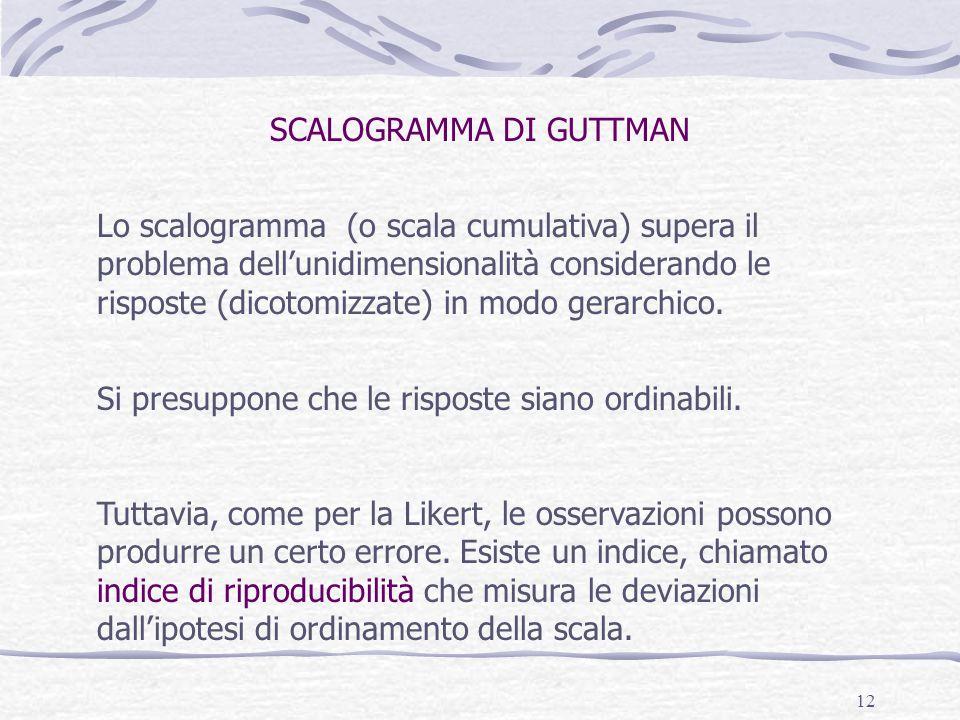 12 Lo scalogramma (o scala cumulativa) supera il problema dell'unidimensionalità considerando le risposte (dicotomizzate) in modo gerarchico. Si presu