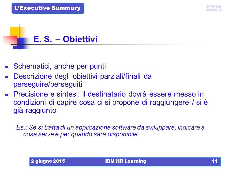 L'Executive Summary 2 giugno 2015IBM HR Learning11 Schematici, anche per punti Descrizione degli obiettivi parziali/finali da perseguire/perseguiti Pr