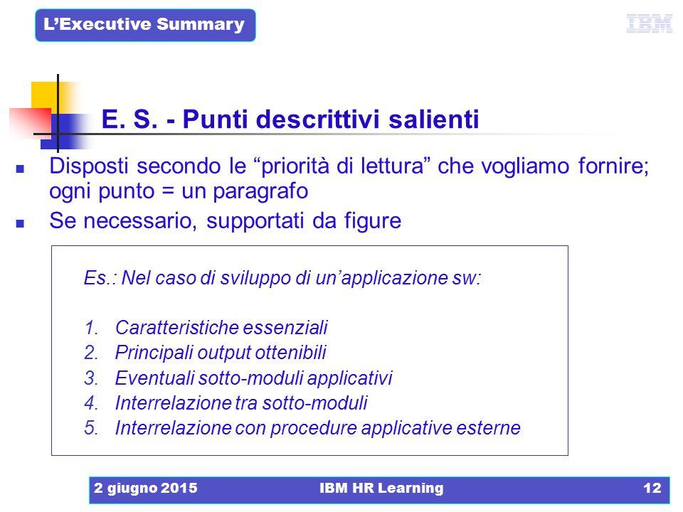 """L'Executive Summary 2 giugno 2015IBM HR Learning12 Disposti secondo le """"priorità di lettura"""" che vogliamo fornire; ogni punto = un paragrafo Se necess"""