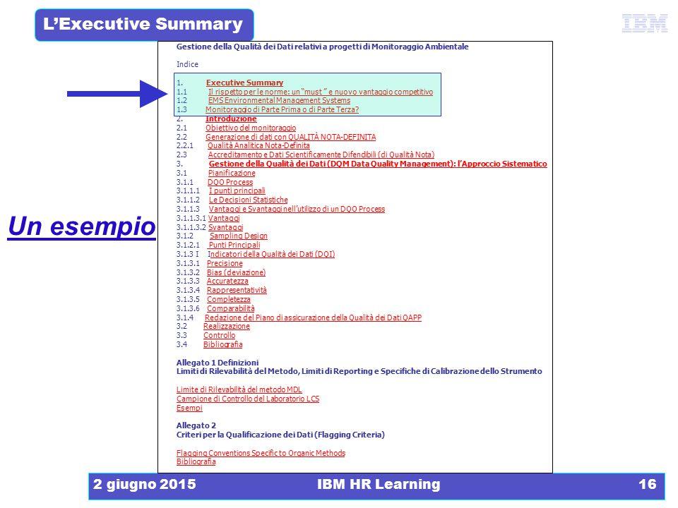 L'Executive Summary 2 giugno 2015IBM HR Learning16 Gestione della Qualità dei Dati relativi a progetti di Monitoraggio Ambientale Indice 1. Executive