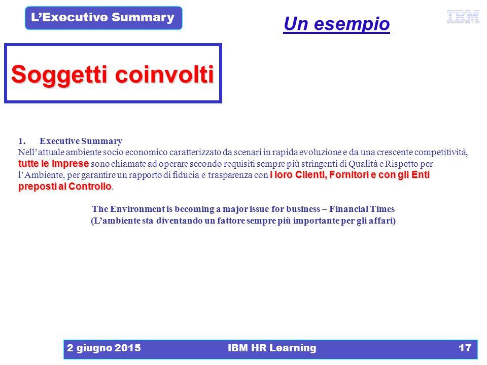 L'Executive Summary 2 giugno 2015IBM HR Learning17 Soggetti coinvolti 1. Executive Summary tutte le Imprese i loro Clienti, Fornitori e con gli Enti p