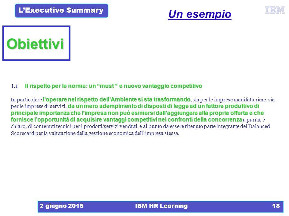 """L'Executive Summary 2 giugno 2015IBM HR Learning18 Obiettivi Il rispetto per le norme: un """"must """" e nuovo vantaggio competitivo 1.1 Il rispetto per le"""