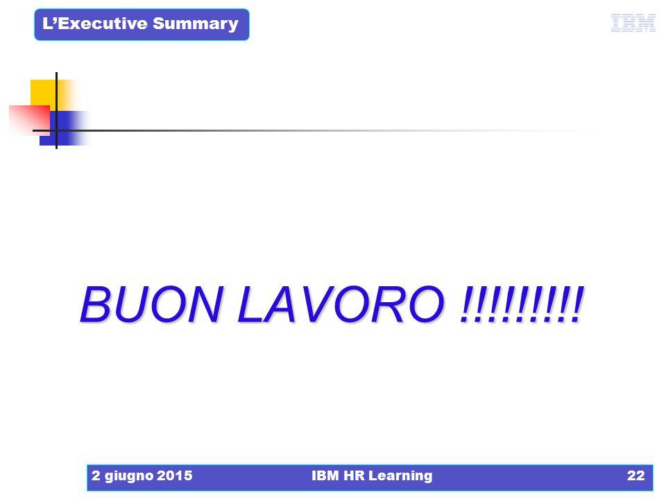 L'Executive Summary 2 giugno 2015IBM HR Learning22 BUON LAVORO !!!!!!!!!